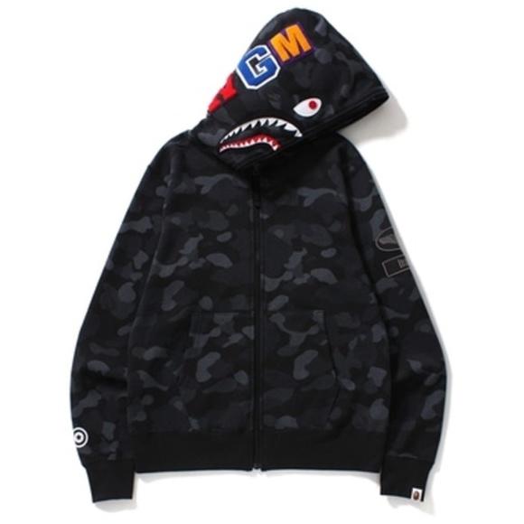 72bce9929a43 BAPE Dot Camo Shark Full Zip Hoodie Black